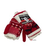 Isotoner Signature Women's Flip Gloves Red Knit Kissing Moose Casual $32... - $11.20
