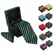 Berlioni Men's Silk Neck Tie Accessory Box Set With Cufflinks & Pocket Square