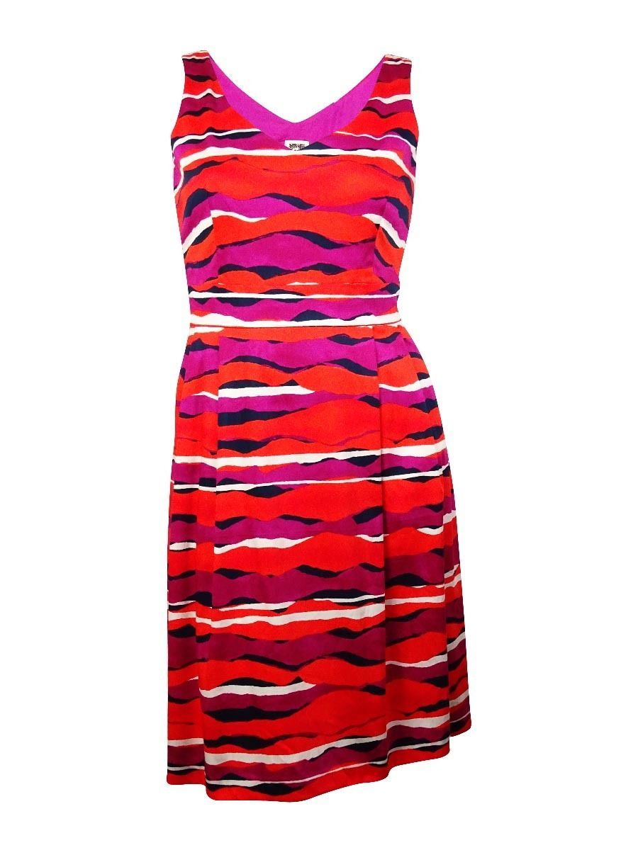 Anne Klein Women Pleated Double-V Party Cocktail Wavy Print Red Multi Dress 14