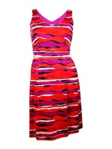 Anne Klein Women Pleated Double-V Party Cocktail Wavy Print Red Multi Dress 14 - $41.70