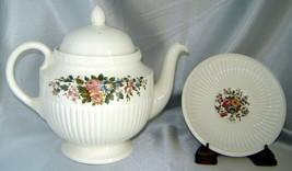 Vintage Wedgwood Edme Porcelain Conway Floral Teapot w/ Lid, Saucer (England) - $34.20