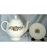 Vintage WEDGWOOD EDME Porcelain CONWAY Floral Teapot w/ Lid, Saucer (Eng... - $34.20