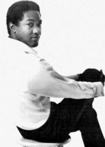 Sam Cooke in white shirt sitting on stool in recording studio 5x7 inch p... - $5.75