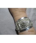 Antique Victorian European 950 Silver Etruscan  filigree Ornate cuff Bra... - $149.99