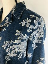 DENIM & CO Women's Jacket Blue Jean Floral Rose Flower Graphics Size Small $75 image 5