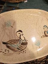 "RED WING POTTERY BOB WHITE Blue Quail Bird Lg 14"" oval serving tray Platter #130 image 3"