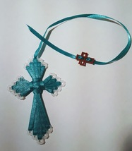 Silky Ribbon Cross Bookmark in Green Color - $5.00