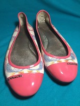 Coach White Pink DARENA Signature Canvas Dressy Flats Poppy Dreams Free Shipping - $29.02
