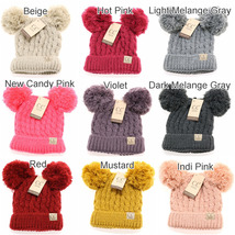 NWT! C.C Beanie Kids Chunky Cable Knit Hat Cap with Double Pom - Approx Age 4-7