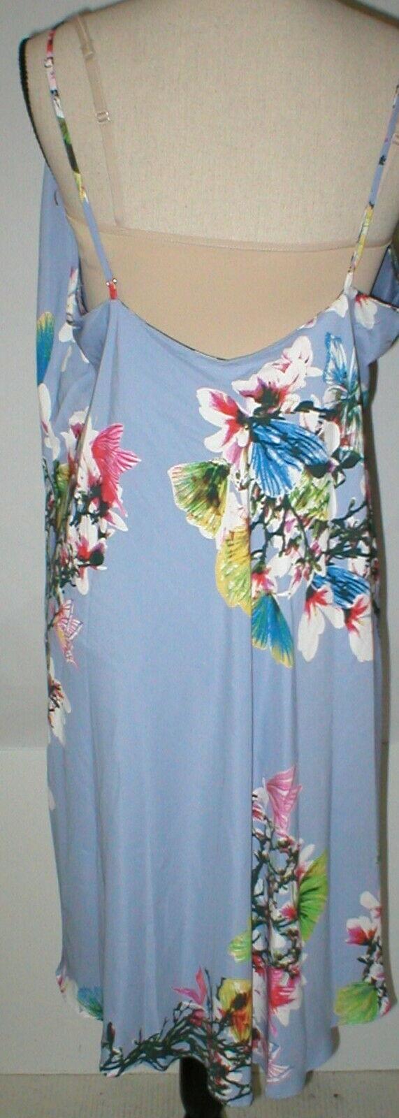 NWT New Designer Natori Womens XL Night Gown Silky Light Blue Pink White Flower image 7