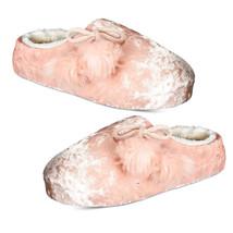 New INC International Concepts Pom Pom Fur Velvet Clog Slippers Medium 7... - £7.76 GBP