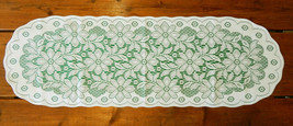 LACE WHITE & GREEN TABLE RUNNER - POINSETTIA CHRISTMAS HOLIDAY DINNER 13... - $12.19