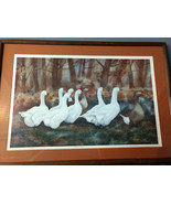 February's March by Connie Bieber Signed 573/1000 Brown White Geese Framed - $35.00