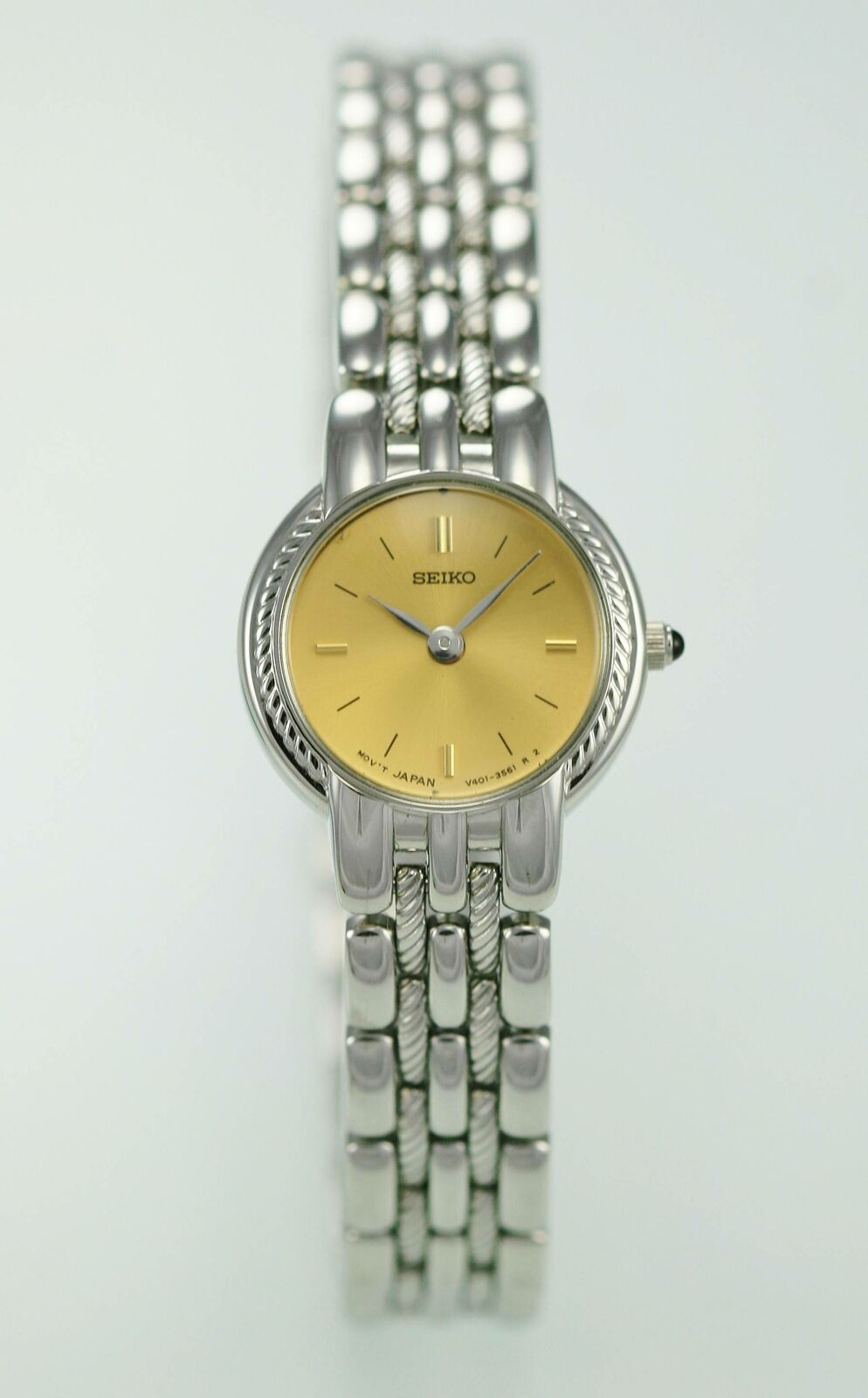 Seiko Womens Watch Stainless Silver Steel Water Resistant Gold Battery Quartz