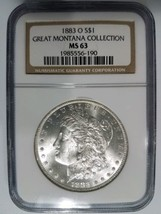 1883 O Silver Morgan Dollar NGC MS 63 Great Montana Collection Pedigree ... - $124.99