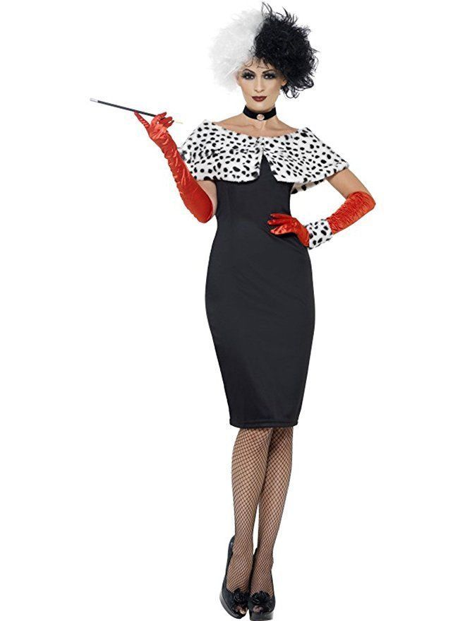 Smiffy's Evil Madame Costume 101 Dalmations Crudelia Costume Halloween 32806