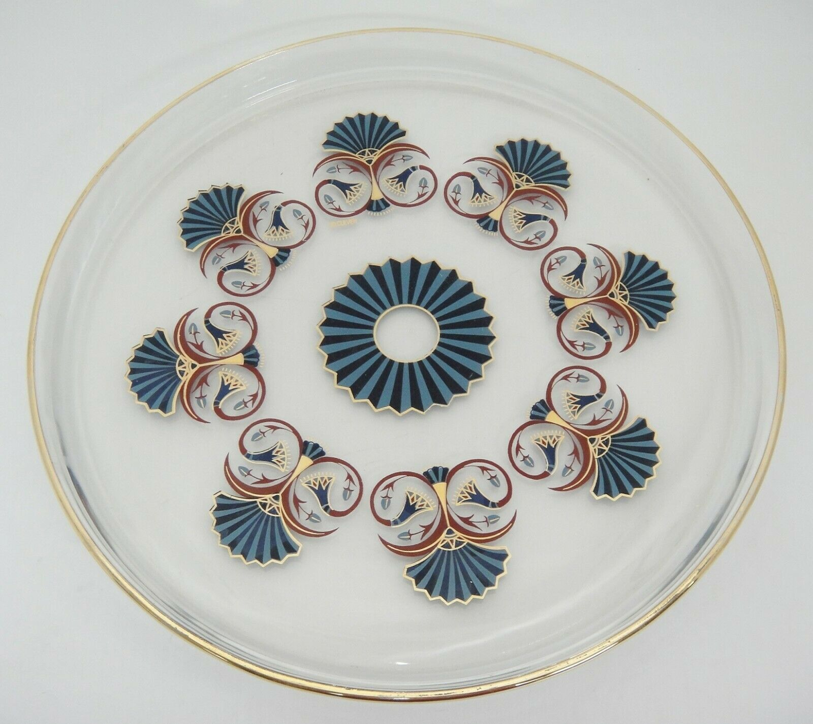 "Primary image for Culver Duralex 12"" Round Glass Tray Blue Fan Design Gilded Trim Rim France MCM"