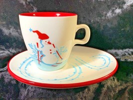 Starbucks Holiday 2007 Snowman Penguin Coffee Cup With Cookie Treat Plate - $14.80