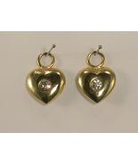 Pair of Gold Colored Hearts w Large Rhinestones... - $12.00