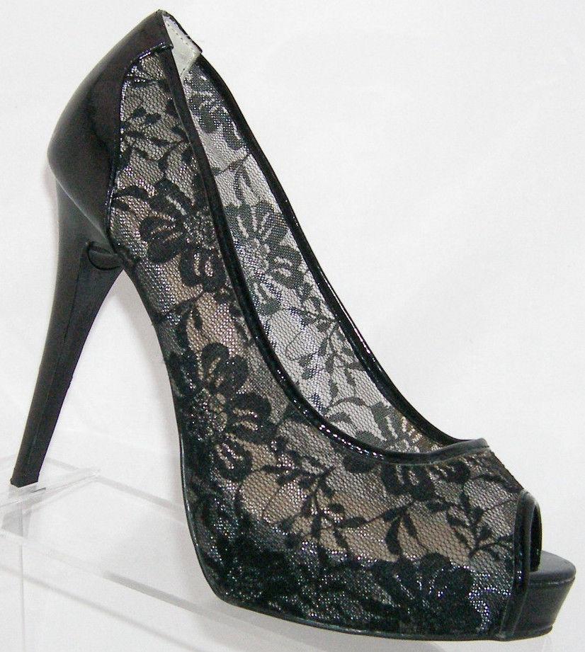ae43606a866 Guess  Ganimata  black peep toe lace floral and 50 similar items