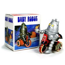 BABY ROBOT ON TRICYCLE Wind Up Toy Tin Metal and Plastic Retro Litho NEW... - $11.95