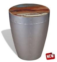 Barrel Stool Industrial Metal Wood Coffee Side Table Vintage Pub Bar Fur... - £108.30 GBP