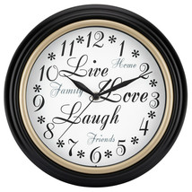 "Live, Love, Laugh Inspirational 12"" Home Decor. Round Wall Clock, Quartz... - $17.71"