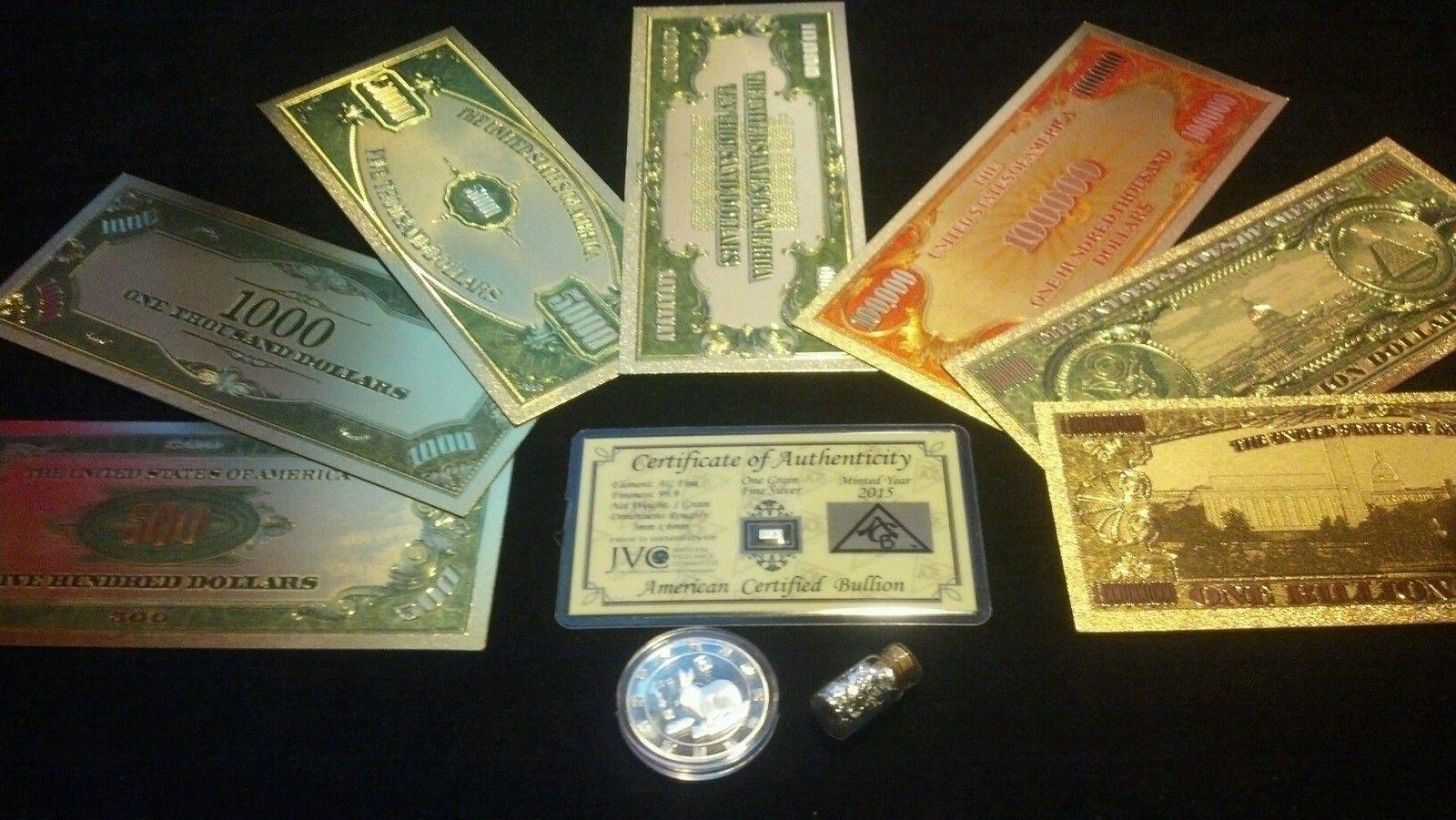 <FULL MINT SET W/COA>~1928 SERIES~GOLD BILLS $500-$1B~Rep*Banknotes+ Coin/