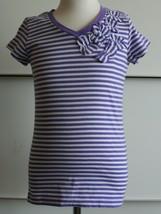 The Children's Place Girls Size Small 5/6 Purple White Striped EUC Top - $8.90