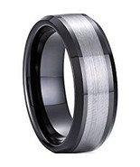 Tungsten Carbide Wedding Band Ring - Black Silver Color - Price for one ... - $39.99