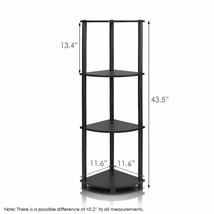 Turn-n-Tube Multipurpose 4-Tier Corner Shelf Home Decor Storage Espresso... - $21.45