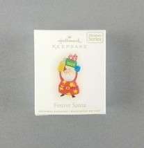"Hallmark 2009 Keepsake Christmas Miniature Ornament ""Festive Santa"" Hold... - $8.86"