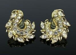"Vintage Gold Tone Rhinestone J Hook Teardrop "" AVON "" Costume Jewelry Ea... - $10.17"