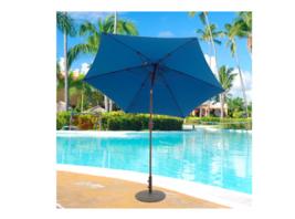 Patio Table Umbrella 9 Foot Picnic Table Large Blue Aluminum Cranks and ... - £70.81 GBP