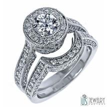 2.67CT G/SI1/SI2 100% Natural Round Ideal Cut Diamond Engagement Bridal Set 18K - $6,354.81