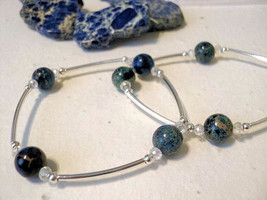 Sterling Silver and Blue Impressíons Jasper Metaphysical Blessings Bracelet - $23.00