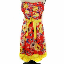 Teeze Me Dress Juniors Size 13 Red Yellow Floral Strapless Belted Ruched... - $16.82