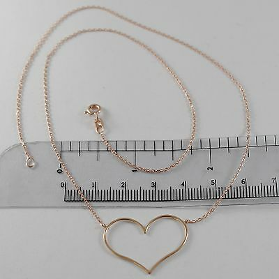 18K ROSE GOLD NECKLACE WITH 1.06 IN HEART AND MINI SQUARED CHAIN MADE IN ITALY