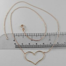 18K ROSE GOLD NECKLACE WITH 1.06 IN HEART AND MINI SQUARED CHAIN MADE IN ITALY  image 1