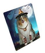 Happy Halloween Trick or Treat Australian Shepherd Dog Candy Corn Art Po... - $88.11