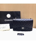 AUTHENTIC NEW CHANEL BLACK CAVIAR QUILTED JUMBO DOUBLE FLAP BAG SILVER H... - $4,999.99