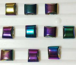 10pcs. Rainbow Hematite Flat Square Beads 10x10mm 2-Hole image 3