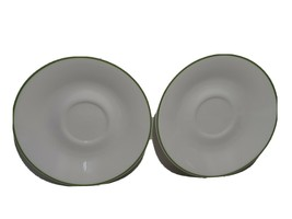 "Lot 2 CORELLE 6"" SHADOW IRIS SAUCERS Plates White & Green Rim - $12.56"
