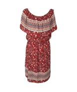 Style & Co Womens Large L Dress Floral Peasant Style Off-Shoulder Red Multi - $18.78