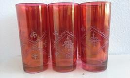 Vintage Red Glassware Embossed Fleur de Lis Design Set of Six - $25.00
