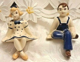 2 Vintage Boy & Girl Shelf Sitters Figurines Hand painted Ceramic Blue and White