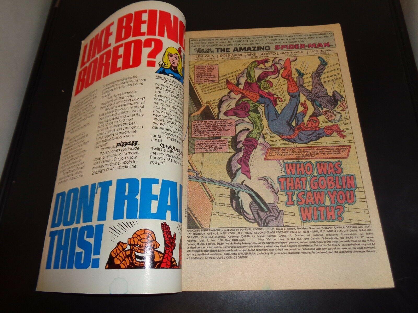Amazing Spider-Man #180 Marvel Comic Book FN (7.0) Condition 1978 Green Goblin