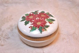 Lefton Music Trinket Box Christmas Poinsettia Porcelain - $29.68