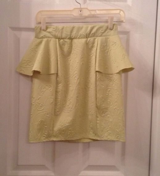 Lime embellished detailed peplum skirt  small new without tags - $4.99