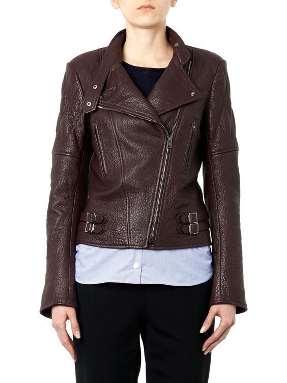 WOMEN BIKER MOTORCYCLE CASUAL SLIM FIT RIDER REAL GENUINE  LEATHER JACKET-A22